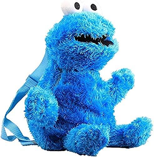 ZLYY Sesamstraße Krümelmonster Plüsch Rucksack, 3D Cartoon Plüschfigur Cookie Monster Big Bird Rucksack Kinderrucksack 45 cm. blau