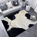 Wzz Creativo 3D Alfombra Leopardo/Cebra/Vaca/Tigre Estampado Animal Piel Alfombra para Sala De Estar Dormitorio Alfombra,A,80x120cm