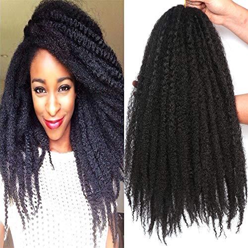 3 Packs 18 Inch Marley Braiding Hair Marley Braid Crochet Hair Long Afro Kinky Marley Braids Crochet Braids Synthetic Fiber (1B#)