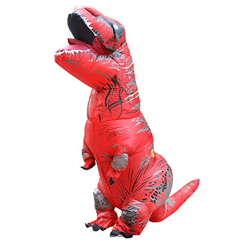 KOOYNN Inflatable Dinosaur T-REX Costume Halloween Blow up Costumes Adult (RED)