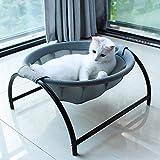 猫ベッド 犬猫用ベッド ペットハンモックベッド 自立式 猫寝床 ネコベッド 猫用品 ペット用品 丸洗い 安定な構造 取り外し可能 通気性抜群 組立簡単 室内 戸外 (グレー)日本国内出荷