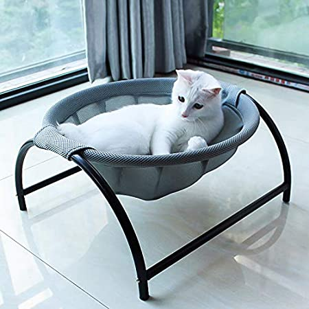 【更新版】猫ベッド ペットハンモック 犬猫用ベッド 自立式 猫寝床 ネコベッド 猫用品 ペット用品 丸洗い 安定な構造 取り外し可能 通気性抜群 組立簡単 室内 戸外 (グレー)