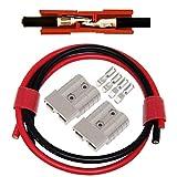 Conector de batería Set, 2 Pcs Enchufe rápido del conector de la batería para los modos de motocicleta Van del automóvil 600V 50Amp Con (8AWG Cable de batería Rojo/60cm, Negro/60cm)