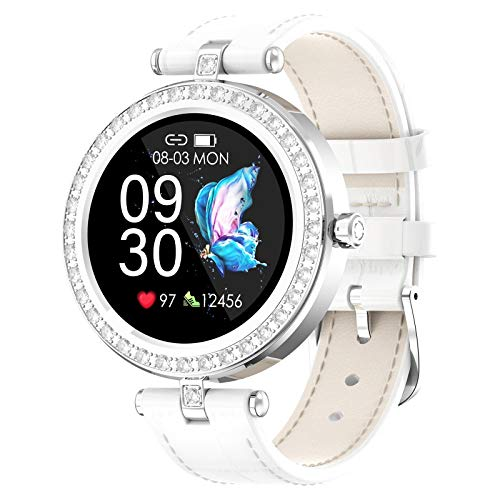 AYZE Reloj Depreloj Deportivo Mujer GPS 24 Modos De Fitness, Monitorización De Datos De Sueño/Frecuencia CardíAca, Control De CáMara/MúSica, Batería De 180 mAh,Empuje De Información Silver