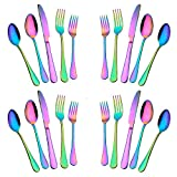 Silverware Set,20-Piece Stainless Steel Flatware Set,Tableware Set,Dinnerware Set Service for 4 (Rainbow Multicolor)