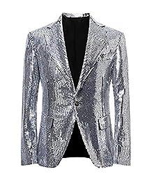 Silver/C Splendid Sequins Lapel Tuxedo Jacket