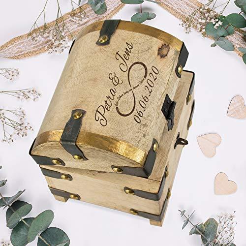 Schatztruhe aus Mangoholz zur Hochzeit (Unendlichkeitszeichen) mit Namen und Datum personalisiert: Geldgeschenke fürs Brautpaar - Geschenkidee zur Hochzeit mit Gravur