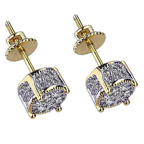KingFurt Hip Hop Earring, 18k Bling Bling Gold Plated Silver Screw Back Stud Round Earrings For Men and Women