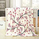 Mugod Watercolor Painting Throw Blanket Seamless Pattern with Branch of Cherry Blossom Flower Decorative Soft Warm Cozy Flannel Plush Throws Blankets for Baby Toddler Dog Cat 30 X 40 Inch