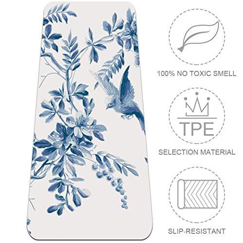 DJROWW - Esterilla de yoga, diseño de pájaros en flor de cerezo natural para pilates, respetuoso con el medio ambiente, grosor de 0,63 cm