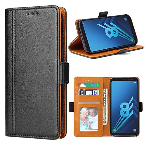 Bozon Funda para Galaxy A8 2018, funda de piel tipo cartera para Samsung Galaxy A8 2018 Flip Cover tarjetero con función atril/cierre magnético (negro)