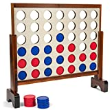 Tailgating Pros Giant Wood Stained Four Connect in a Row with Carrying Case 3ft x 2 ft - 4 in a Row