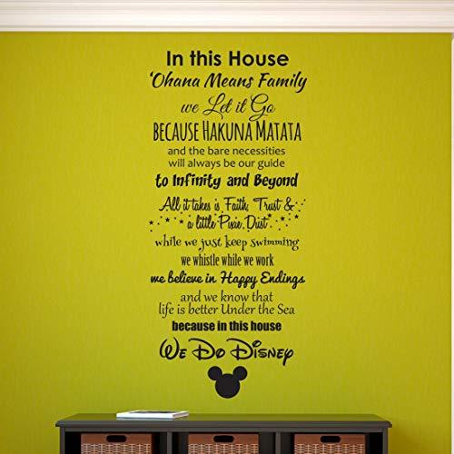 CECILIAPATER Calcomanía de Pared, Pegatina de Pared, calcomanía de Pared Familiar, Vinilo de Pared, We Do Disney, Ohana Means Family, Hakuna Matata, en Esta casa
