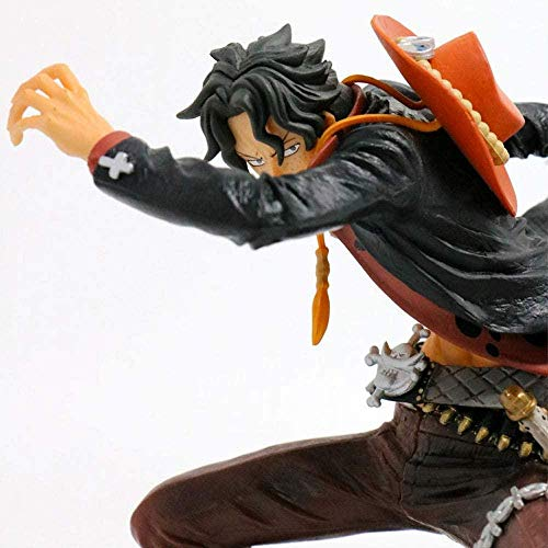 One Piece Anime Modeling Story Black Clothes Fire Fist Ace Figure Dolls Decorations Premium Version Statues Dolls Sculptures Toys Height 15cm