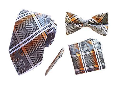 MOHSLEE Herren Krawattenklammer, Metall, gestreift, quadratisch - mehrfarbig - Einheitsgröße
