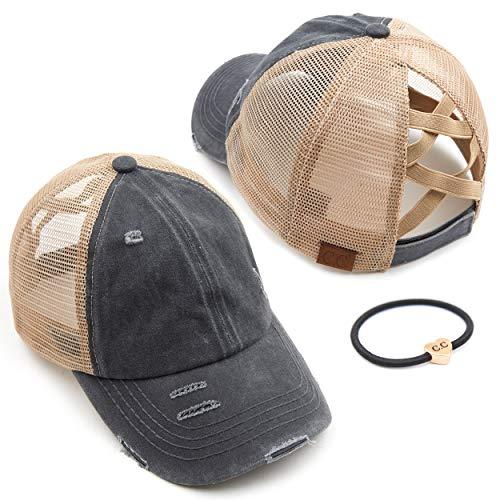 C.C Exclusives Washed Distressed Cotton Denim Criss-Cross Ponytail Hat Adjustable Baseball Cap Bundle Hair Tie (BT-780) (A Elastic Band-Charcoal)