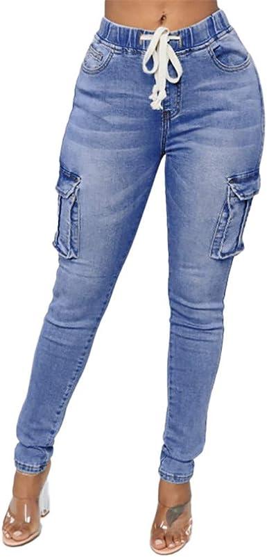 Amazon Com Jesffer Pantalones Vaqueros Ajustados Para Mujer Cintura Larga Cintura Larga Elasticos Clothing