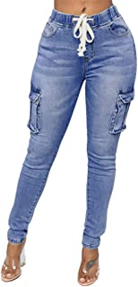 Classic Jeans Womens Fashion Daily Hight Waisted Denim Stretch Slim Pants