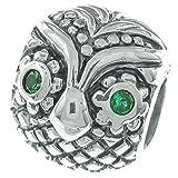 Abalorio de plata de ley 925 con diseño de búho de Wise, color verde y circonita cúbica para pulseras europeas