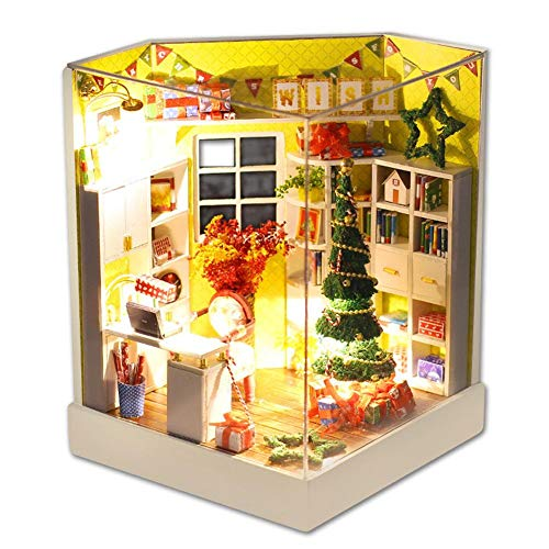 Hztyyier Weihnachten Dollhouse Miniature DIY House Kit Mini 3D Holzhaus mit LED-Leuchten Home Christmas Decor Geschenke für Jungen und Mädchen