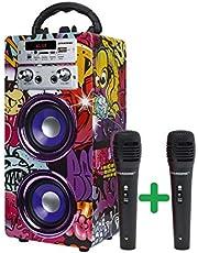 DYNASONIC - (3ª Gen Altavoz Bluetooth Portatil con Modo Karaoke y Micrófono, Radio FM y Lector USB SD (Modelo 12, 2 Micrófonos)