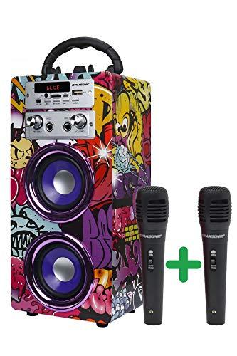 DYNASONIC - Altoparlante Bluetooth portatile (3a generazione) con modalità karaoke e microfono, radio FM e lettore SD USB (modello 12, 2 microfoni)