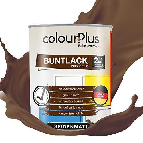 colourPlus® 2in1 Buntlack (750ml, RAL 8011 Nussbraun) seidenmatter Acryllack - Lack für Kinderspielzeug - Farbe für Holz - Holzfarbe Innen - Made in Germany