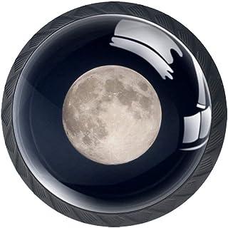 Moon Night - Juego de 4 pomos redondos de plástico ABS sin terminar tiradores de armario para cajón armario y aparador