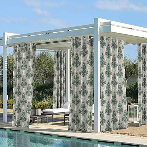 ParadiseDecor Victorian Windproof Curtains Pergola | Cabana |Backyard| Garden| Wedding Floral Ornamental Western Traditional Artwork Foliage Timeless Fashion Jade Green Warm Taupe 104W x 63L Inch