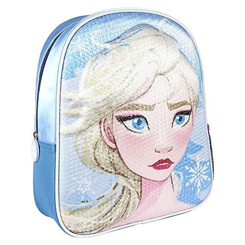 Cerdá, Mochila Infantil Frozen 2 con Lentejuelas 3D de Color Azul-Licencia Oficial Disney Studios Unisex niños, Multicolor, 260X310X100MM