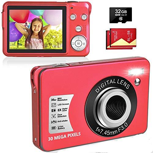 LINNSE Fotocamera Digitale Compatta 30MP 2,7 pollici con zoom digitale 8X con scheda SD da 32 GB e 2 batterie (nero)… (red)