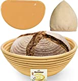 9 Inch Bread Banneton Proofing Basket - Baking Bowl Dough Gifts for Bakers Proving Baskets for...