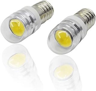 Ruiandsion - 2 bombillas LED COB de 6 V, 12 V, E10, 2 W, repuesto para faros delanteros, color blanco/blanco cálido, Blanco, 6 V