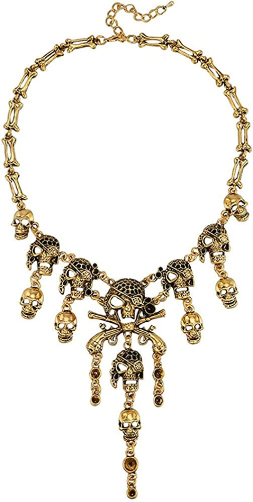 ENUUNO Women's Gold Planted Skull Crystal Pendant Necklace Collar Sexy Party prom costume jewelry for women