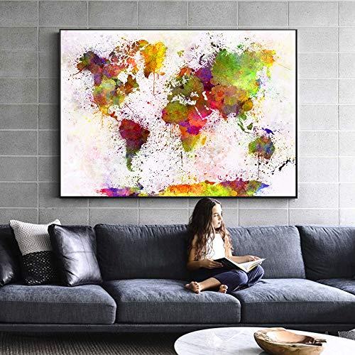 zhuziji DIY Pintar por números Mapa del Mundo de la Acuarela Moderna Pared Graffiti Pop Art Pintura Pintura de la Pared Abstracta Sala de Estar mapa40x60cm(Sin Marco