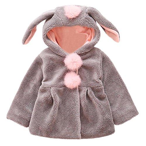 Manteaux de bébés Manteaux d'oreilles de lapin mignon Chaussettes de fourrure en fausse fourrure Vêtements de survêtement pour 1-4 ans Little Girl By Shiningup