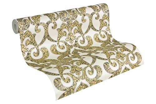 A.S. Création behang Hermitage 9, behang met patroon, klassiek, barok 2 Zuiver wit, granietgrijs, goudkleurig, metallic