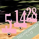 Tischnummern Set 1-12 mit Schmetterlingen, Rosa, für Hochzeit, Taufe, Kommunion