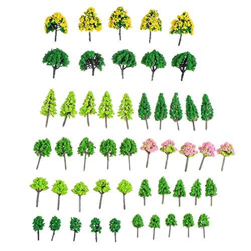 Tomaibaby 55pcs Micro Landscape Tree Plastic Fairy Garden Tree Miniature Tree Models DIY Mini Garden Ornament for DIY Crafts Moss Bonsai Dollhouse Decor 3-7cm