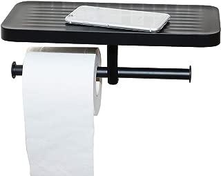 CRW Double Toilet Paper Holder with Shelf Black Tissue Roll Dispenser for Bathroom Wall Mount