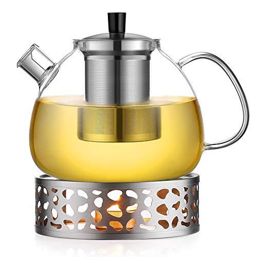 Teekanne 1,4L Glas mit Edelstahlfilter Magnat mit Edelstahl Stövchen