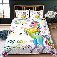 Pretty Unicorn Rainbow 100% Microfiber 3D Printed Bedding Sets Duvet Cover Set Gift for Little Girls