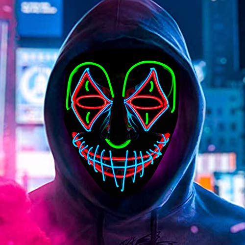 Voneta Halloween - Máscara LED purificante para Halloween, disfraz de fiesta de...