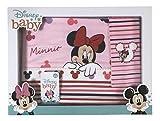 Disney Baby Lot de 3 parures de lit pour bébé, 100 % coton, avec taie d'oreiller, drap-housse pour berceau/landau (Minnie nœud rouge)