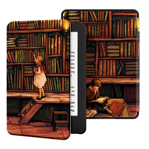 Estuche Ayotu para Kindle Completamente (10ª generación, versión 2019) - Funda de Cuero de PU Compatible con el Kindle 2019 de Amazon (no encajará con Kindle Paperwhite o Kindle Oasis),The Library