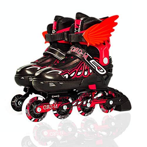 Sumeber Inliner Skates Kinder Verstellbare Länge Inliners Roller Skates Inliner Skates mit leuchtenden Rädern Outdoor/Indoor 4 Räder Rollschuhe für Kinder Erwachsene (Rot, S)