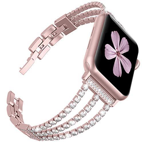 Ownaco Kompatibel für Apple Watch 6 Armband 40mm,38mm Rose Gold Rostfreier Edelstahl Watch Ersatzband Glitzert Armbänder für iWatch/Apple Watch Serie SE/6/5/4/3/2/1 (38mm 40mm, Rose Gold)