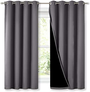 NICETOWN 100% Blackout Curtains with Black Liners, Thermal Insulated Full Blackout..