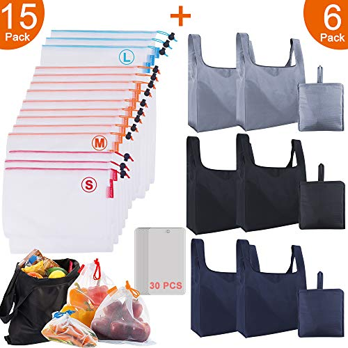 21 Pack Reusable Grocery Bags Mesh Produce Bags Set Foldable Shopping Bags Grocery Bags Reusable Shopping Tote Bags with Inner Pocket Eco Friendly Seethrough Produce bags Mesh Bags for Vegetables