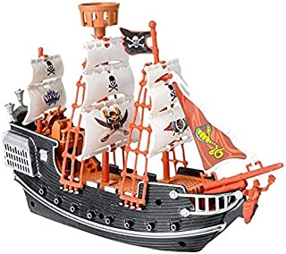 Neliblu Pirate Raiders Ship for Kids - Black and Red Pirate Toy Ship